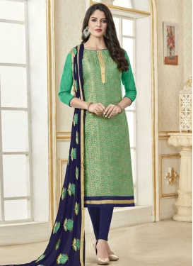 Navy Blue and Sea Green Straight Salwar Suit