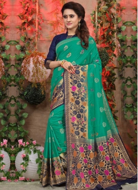 Navy Blue and Sea Green Thread Work Designer Contemporary Style Saree