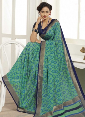 Navy Blue and Sea Green Trendy Classic Saree