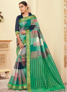 Navy Blue and Sea Green Trendy Saree For Casual
