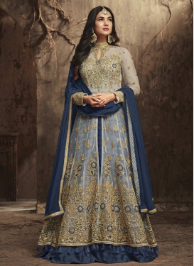 Navy Blue and Silver Color Designer Kameez Style Lehenga
