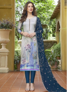 Navy Blue and Silver Color Digital Print Work Trendy Pakistani Suit