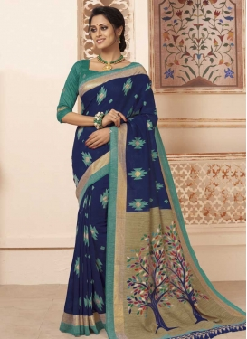Navy Blue and Teal Digital Print Work Contemporary Saree