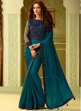Navy Blue and Teal Embroidered Work Classic Designer Saree