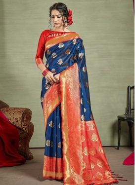 Navy Blue and Tomato Thread Work Traditional Saree
