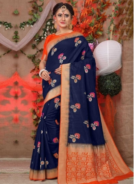 Navy Blue and Tomato Thread Work Trendy Classic Saree