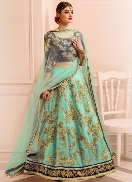 Navy Blue and Turquoise Banglori Silk Designer A Line Lehenga Choli