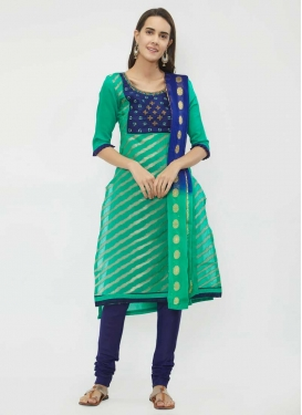 Navy Blue and Turquoise Beads Work Trendy Churidar Salwar Kameez