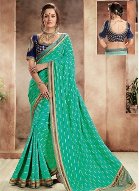 Navy Blue and Turquoise Contemporary Saree For Festival