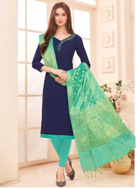Navy Blue and Turquoise Cotton Churidar Salwar Kameez