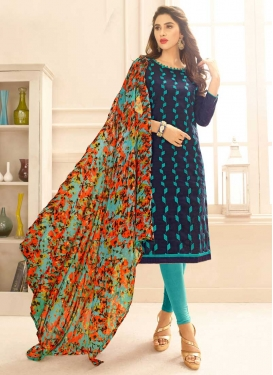 Navy Blue and Turquoise Cotton Trendy Churidar Salwar Suit
