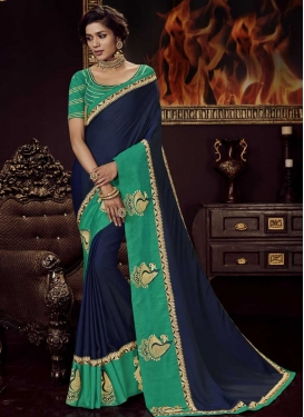 Navy Blue and Turquoise Designer Contemporary Saree For Festival