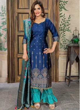 Navy Blue and Turquoise Designer Pakistani Salwar Suit For Festival