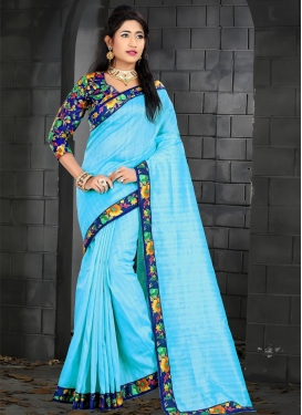 Navy Blue and Turquoise Digital Print Work Contemporary Style Saree