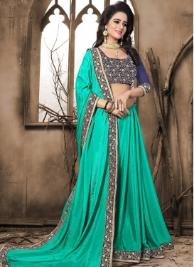 Navy Blue and Turquoise Embroidered Work Traditional Designer Saree