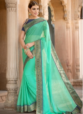Navy Blue and Turquoise Embroidered Work Traditional Saree