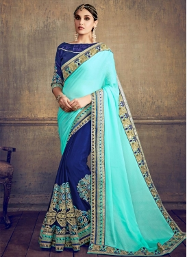 Navy Blue and Turquoise Half N Half Designer Saree