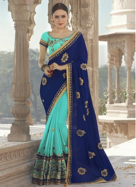 Navy Blue and Turquoise Half N Half Saree
