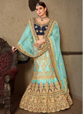 Navy Blue and Turquoise Handloom Silk Trendy Lehenga Choli
