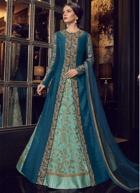 Navy Blue and Turquoise Net Jacket Style Floor Length Suit For Festival