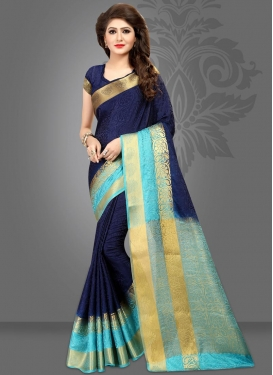 Navy Blue and Turquoise Thread Work Classic Saree