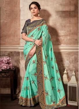 Navy Blue and Turquoise Trendy Saree For Festival