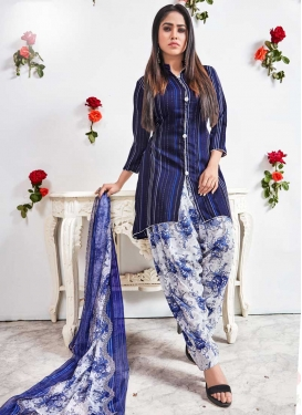 Navy Blue and White Crepe Silk Designer Patiala Salwar Suit