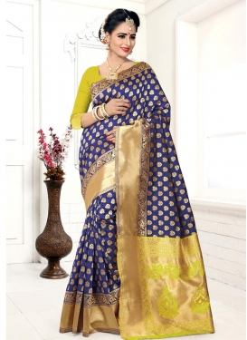 Navy Blue and Yellow Classic Saree For Festival