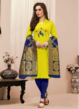 Navy Blue and Yellow Cotton Trendy Churidar Suit