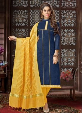 Navy Blue and Yellow Trendy Churidar Salwar Kameez