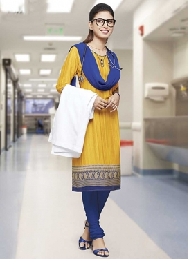 Navy Blue and Yellow Trendy Churidar Salwar Kameez
