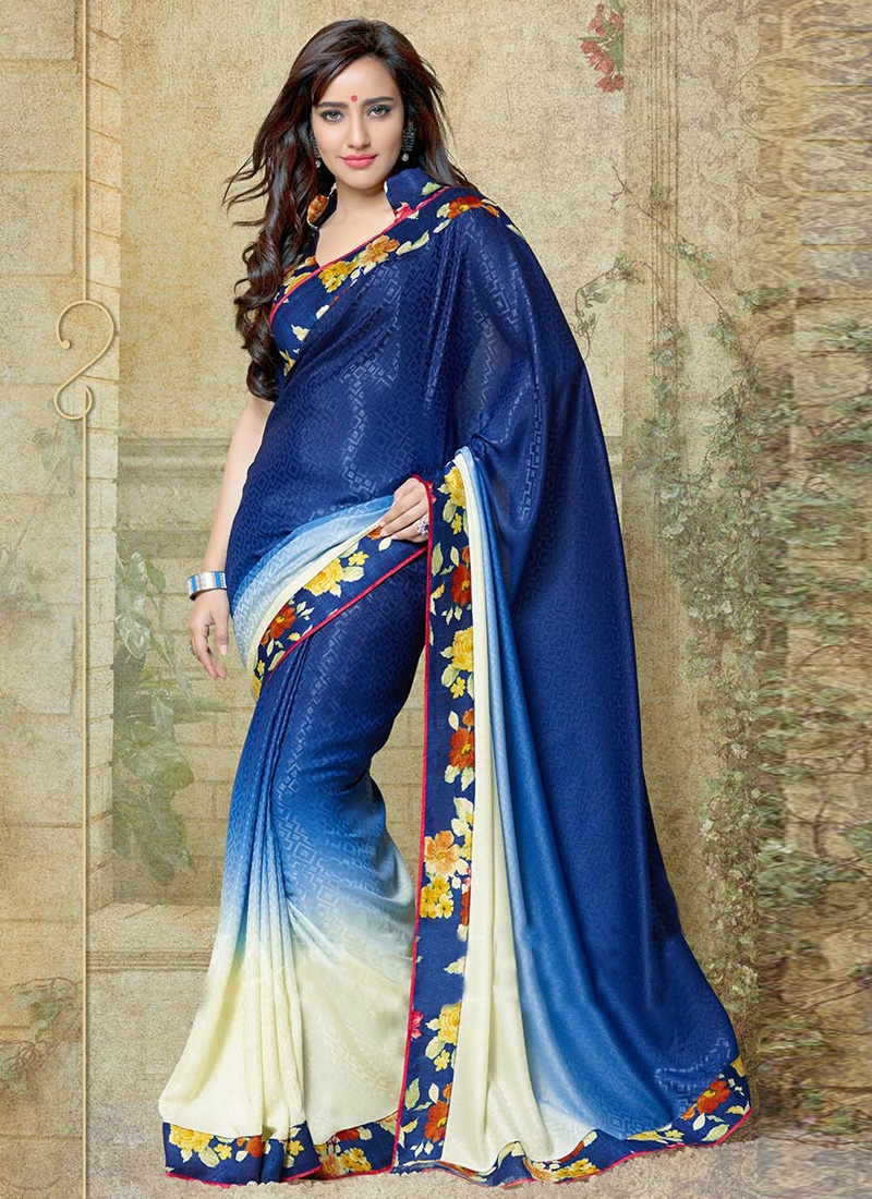 Neha Sharma Digital Printed Crepe Silk Half N Half Casual Saree
