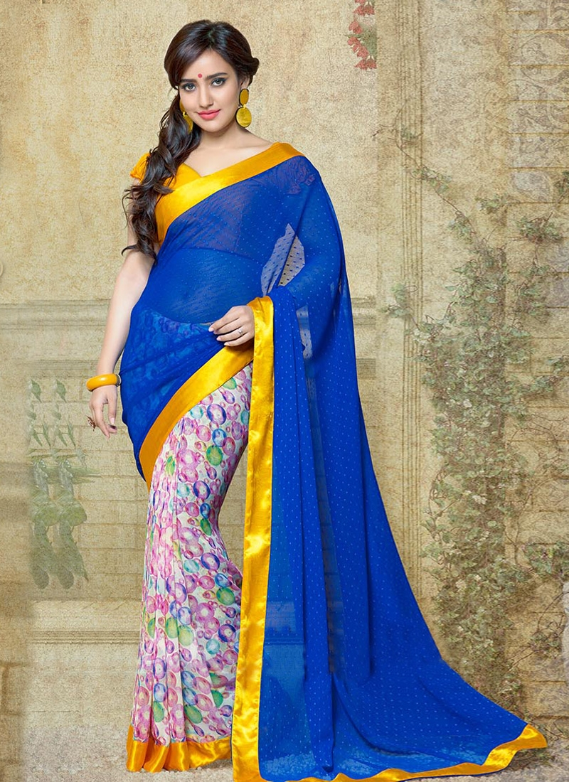 Neha Sharma Digital Printed Half N Half Casual Saree