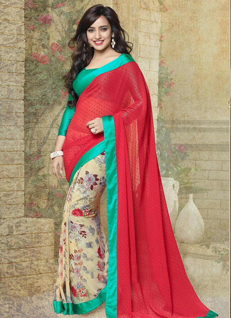 Neha Sharma Red And Cream Color Half N Half Casual Saree
