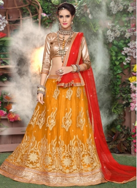 Net A Line Lehenga Choli For Ceremonial