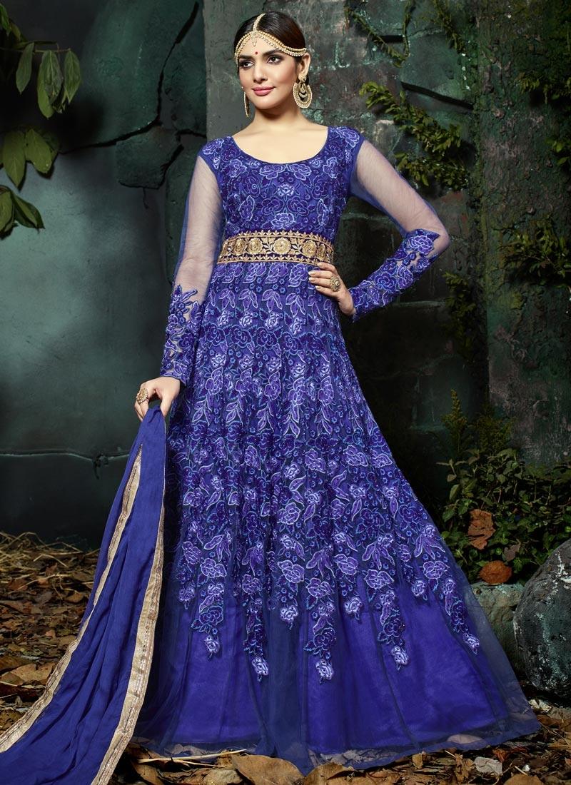 Net Aari Work Long Length Designer Suit
