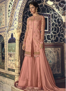 Net And Faux Georgette Sharara Salwar Suit