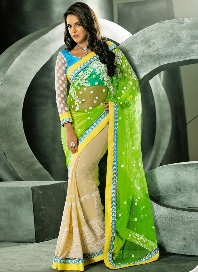Net And Georgette Neha Dhupia Half N Half Saree