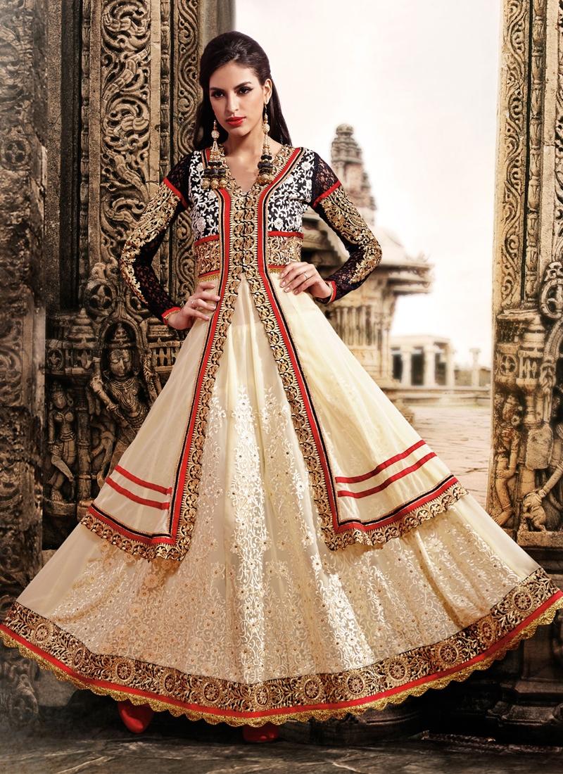 Net And Jacquard Designer Salwar Kameez