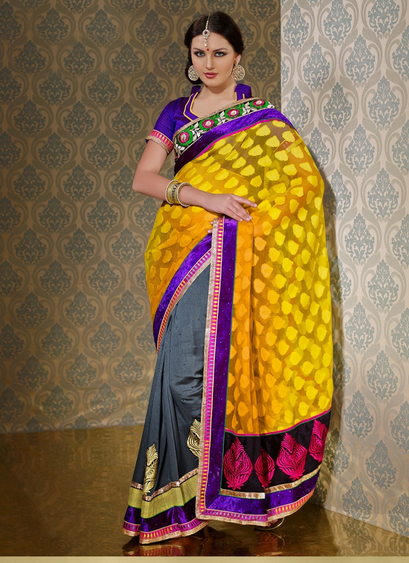Net And Jacquard Half N Half Party Wear Saree