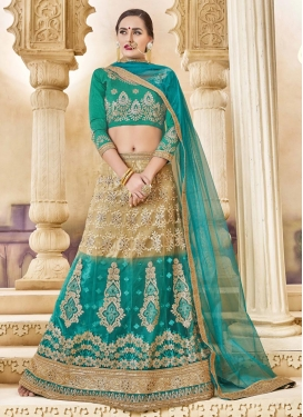 Net Aqua Blue and Beige Trendy Designer Lehenga Choli