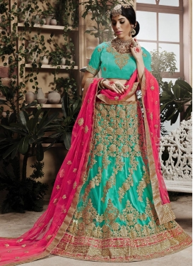 Net Aqua Blue and Rose Pink Trendy A Line Lehenga Choli
