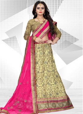 Net Beads Work A Line Lehenga Choli
