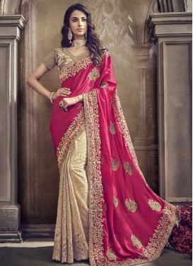 Net Beads Work Cream and Rose Pink Half N Half Trendy Saree