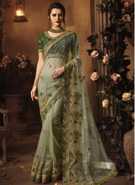 Net Beads Work Designer Contemporary Saree