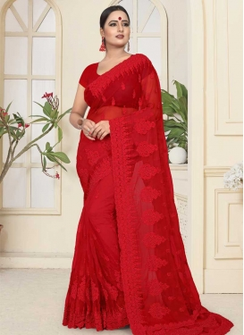 Net Beads Work Designer Traditional Saree