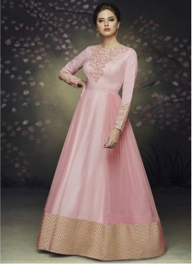 Net Beads Work Readymade Floor Length Gown