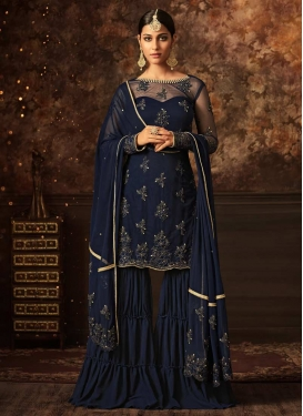 Net Beads Work Sharara Salwar Kameez