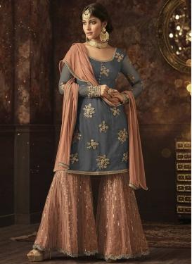 Net Beads Work Sharara Salwar Kameez