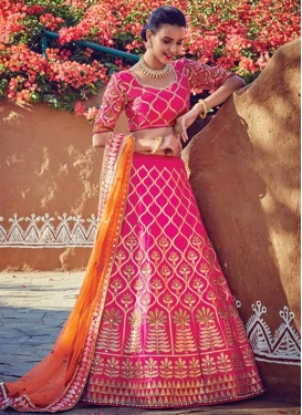 Net Beads Work Trendy A Line Lehenga Choli